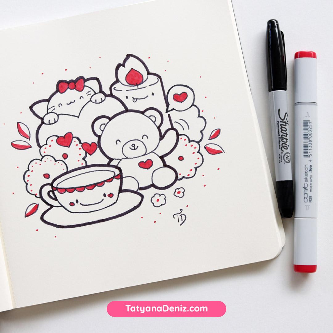 Valentines Kawaii Doodles