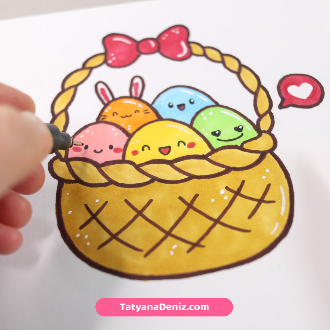 Easter Basket Drawing Tutorial by Tatyana Deniz