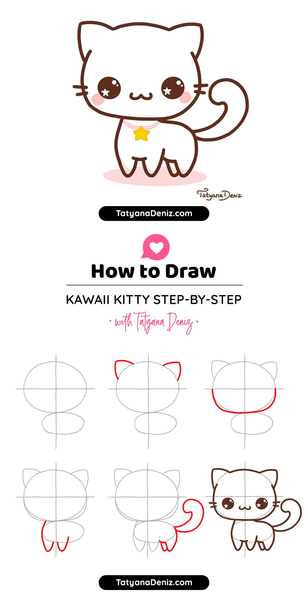 How to draw kawaii cat drawing tutorial