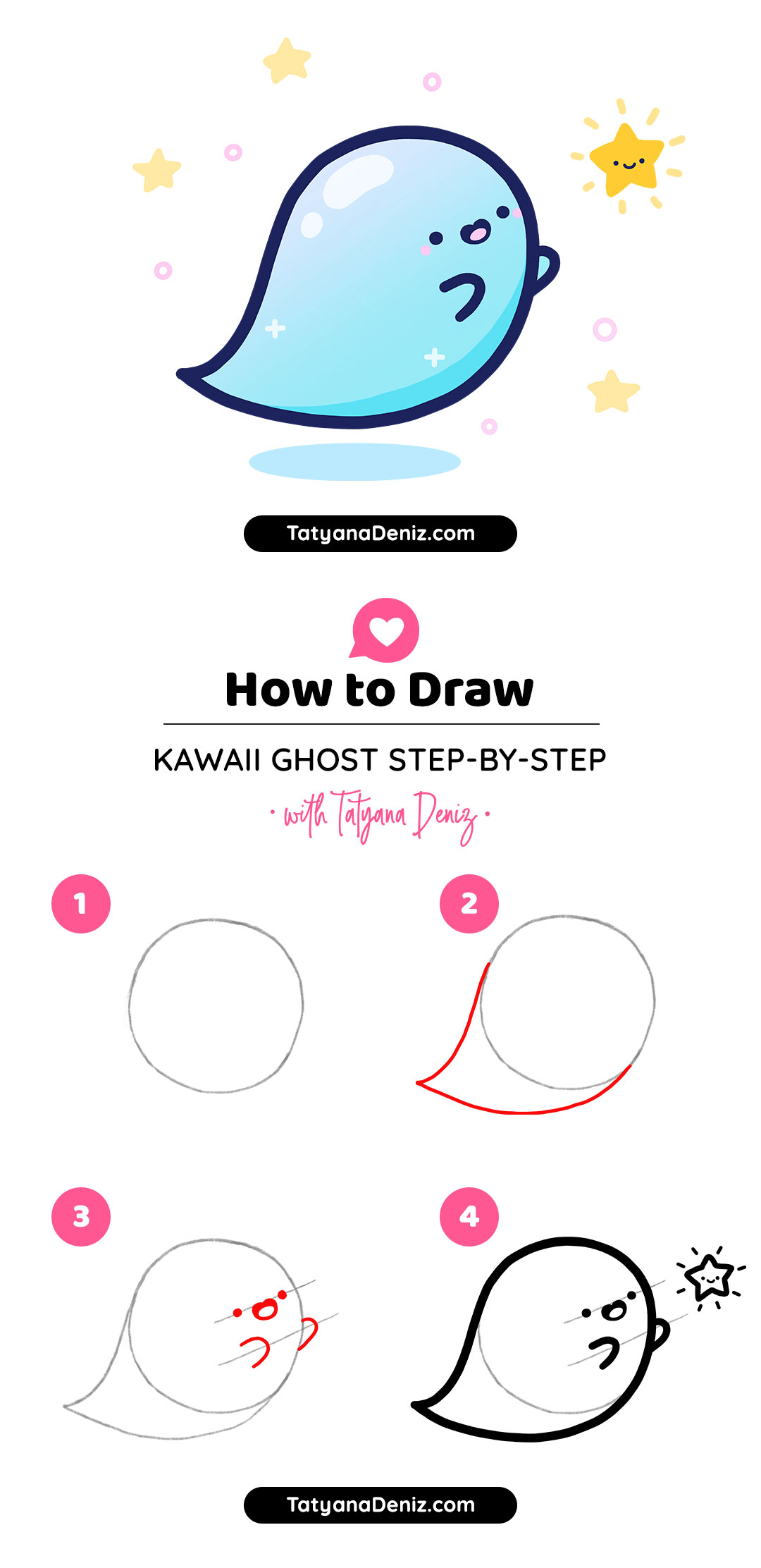 How to draw kawaii ghost step-by-step