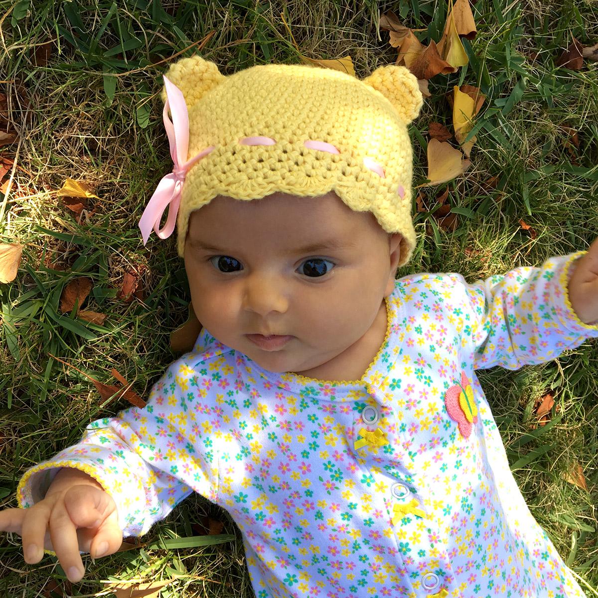 Cute crochet baby hat with ears