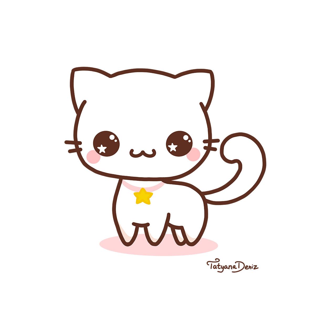Kawaii Cat - Kawaii Art by Tatyana Deniz
