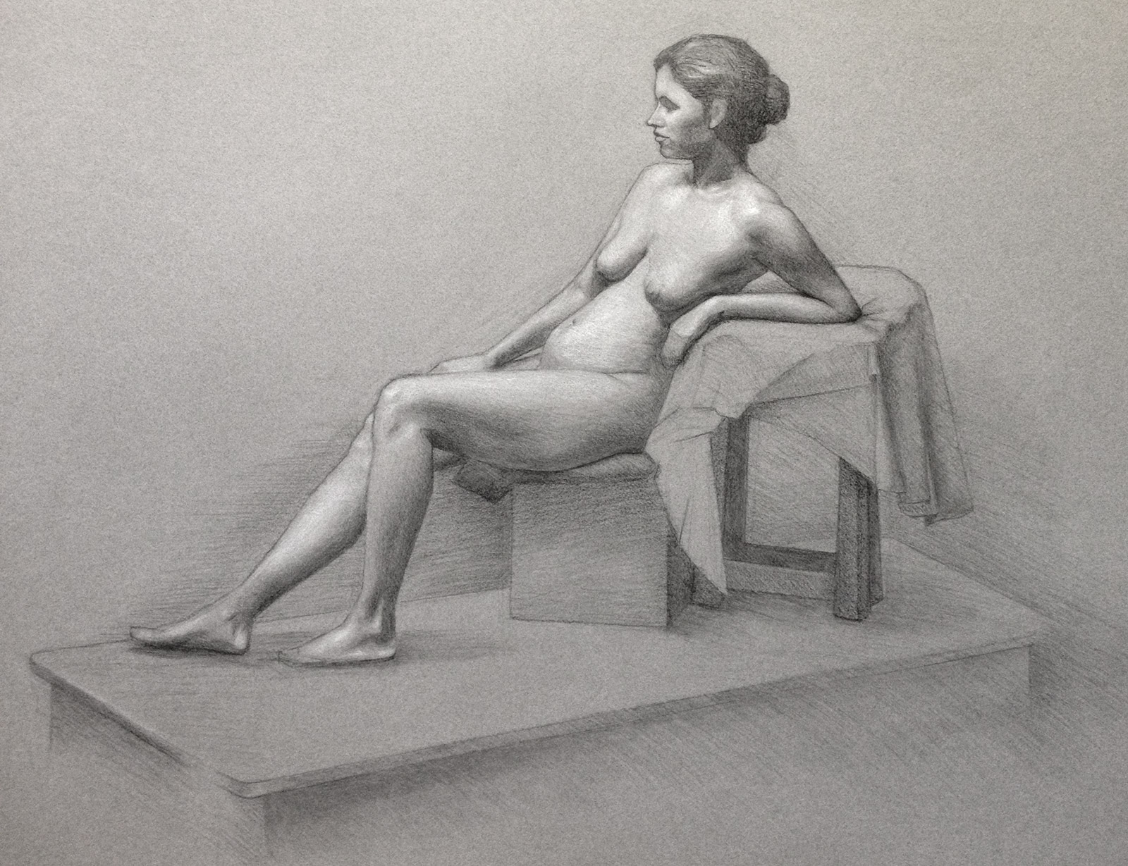 Lady in reclining position by Tatyana Deniz, charcoal and chalk