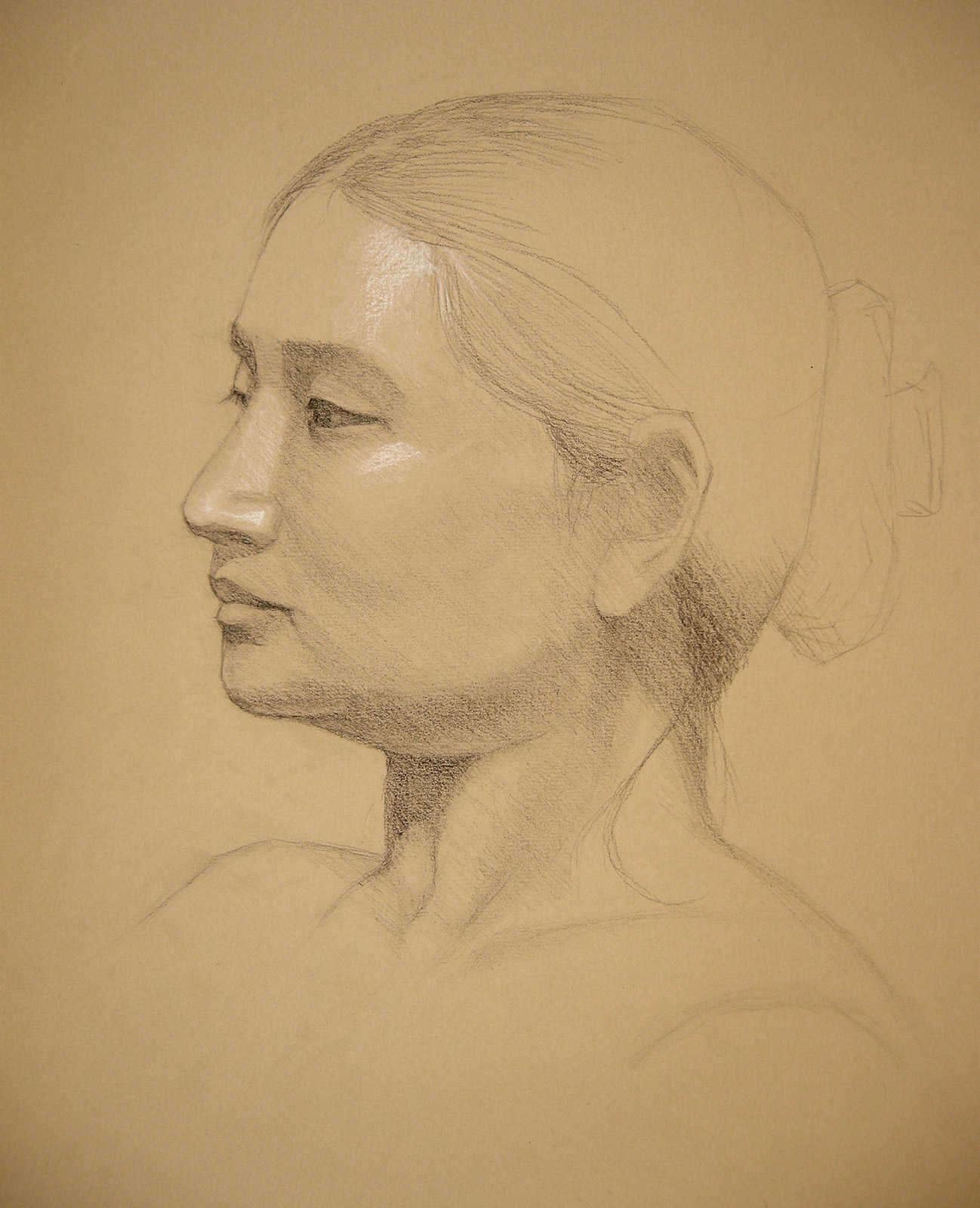 Portrait of Leila by Tatyana Deniz, charcoal and chalk on paper,