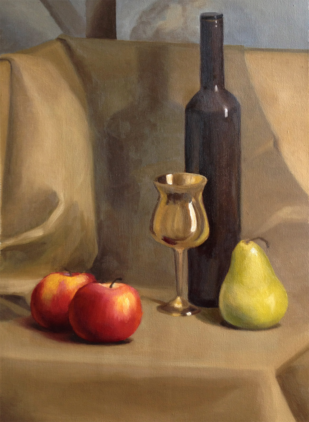 Red and gold still life by Tatyana Deniz, oil on canvas, 2014