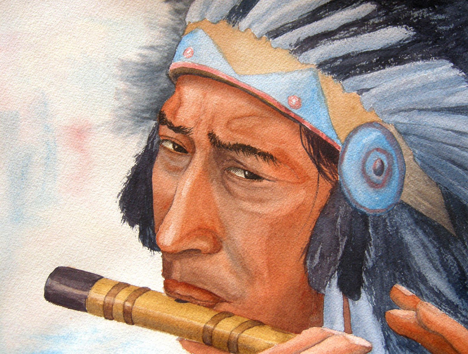 The Indian by Tatyana Deniz, watercolor on cotton, 2011
