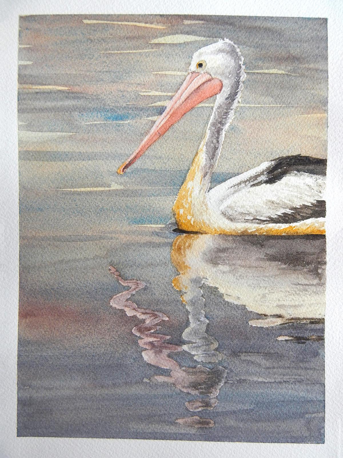 Pelican by Tatyana Deniz, watercolor on cotton, 2014