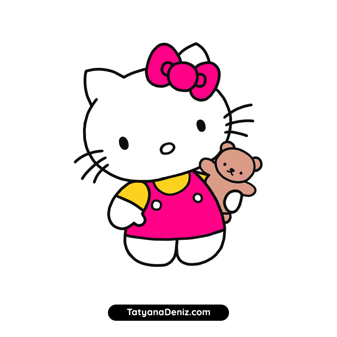 How to draw Hello Kitty step-by-step with simple and easy drawing tutorial