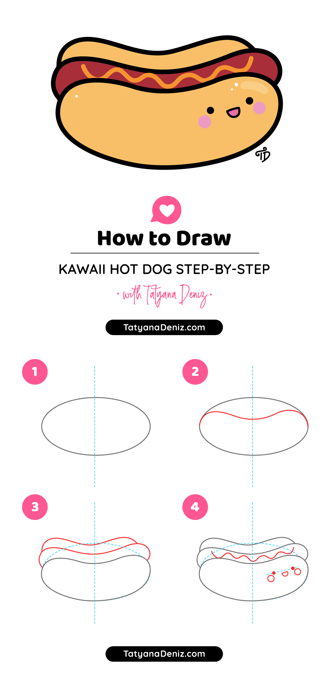 How to draw kawaii hot dog step-by-step cute and easy