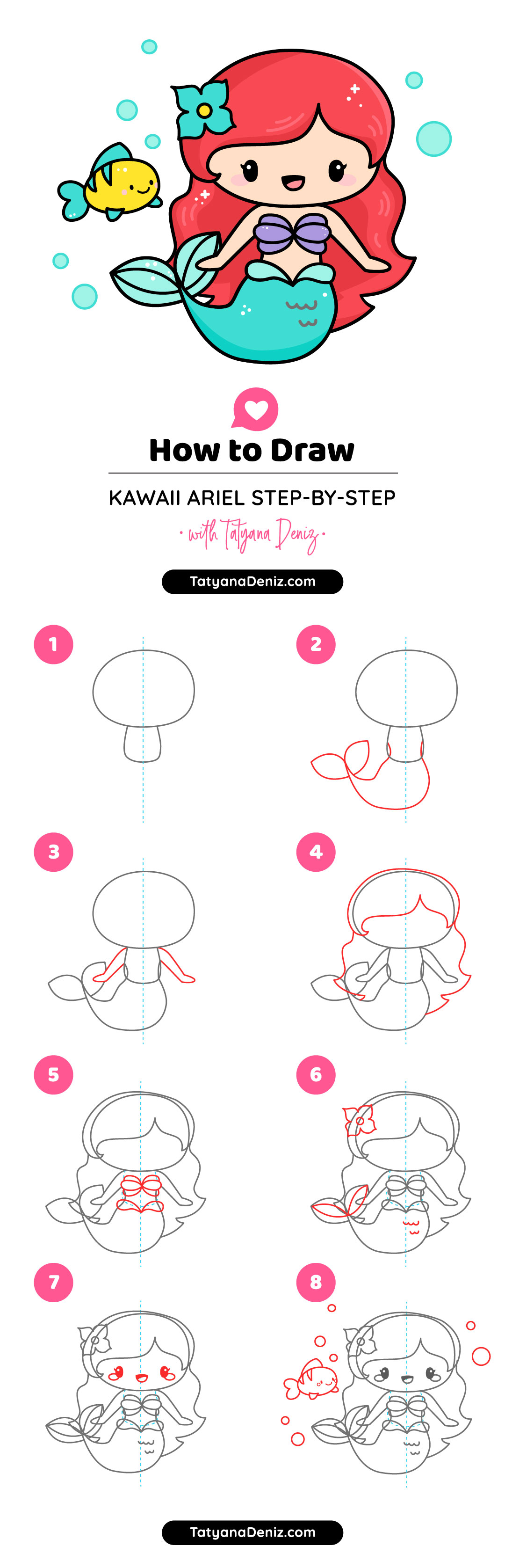 How to draw mermaid Ariel cute and easy step-by-step