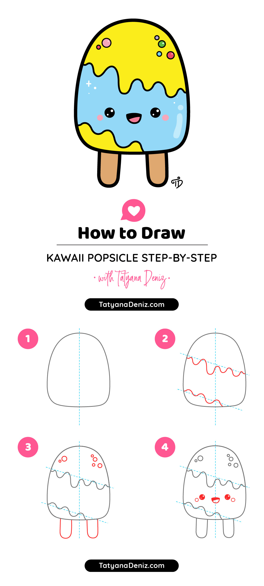 Step-by-step tutorial to draw a cute cartoon popsicle with a face