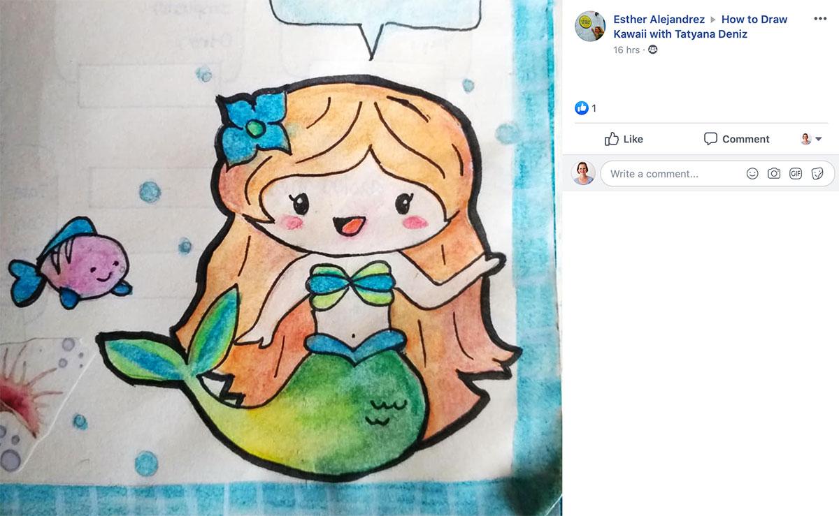 Little mermaid student drawing