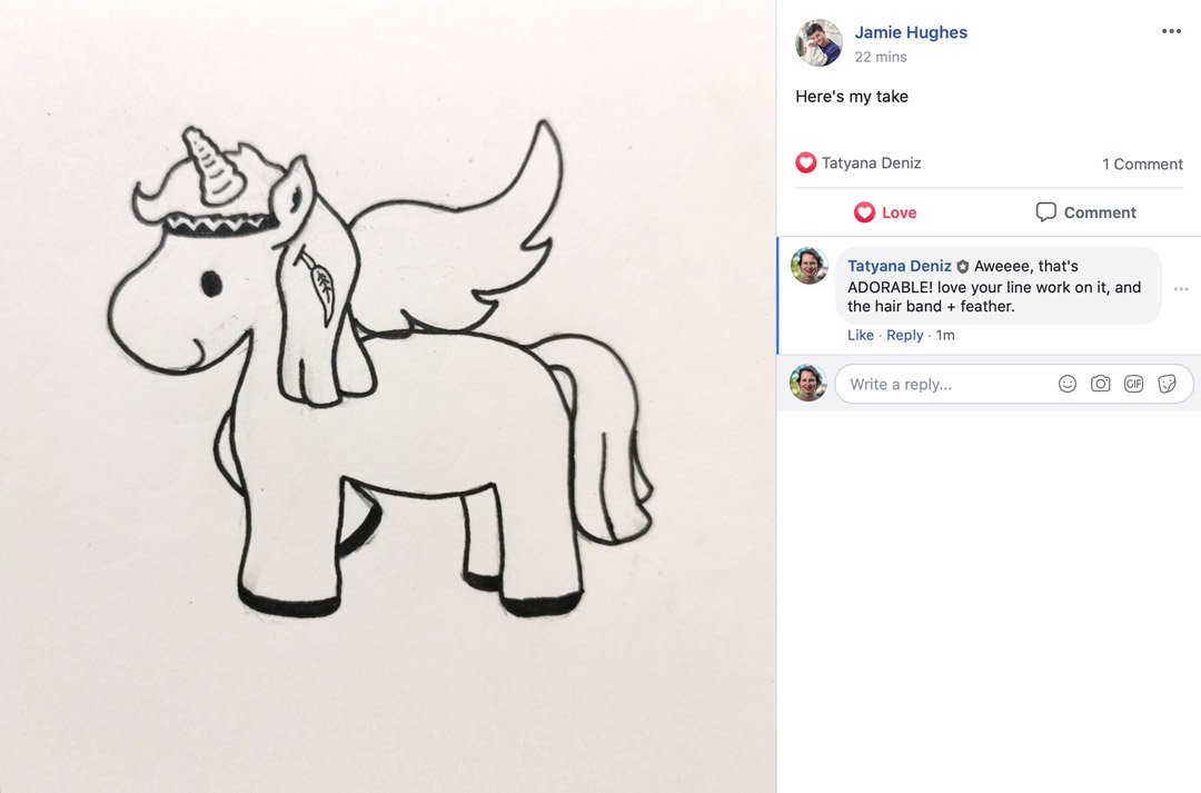 Kawaii unicorn line art - student gallery