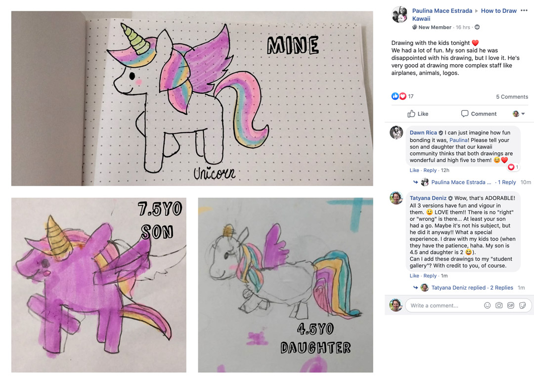 Unicorn drawing - student gallery