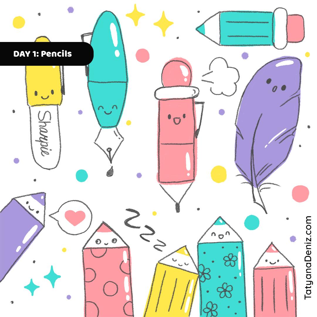 Kawaii stationery pens doodle art by Tatyana Deniz