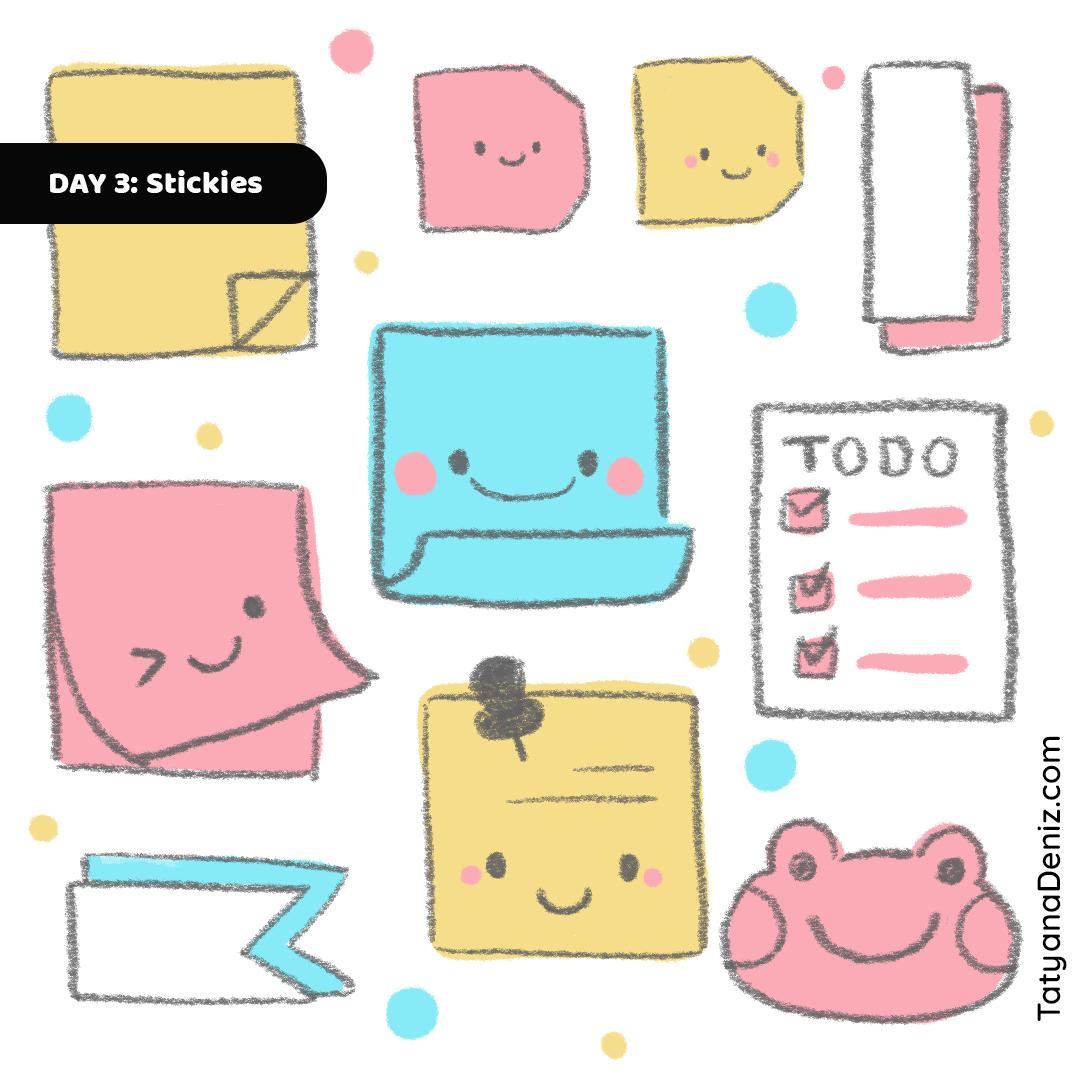 Kawaii Stationary Stickie Notes doodle art by Tatyana Deniz