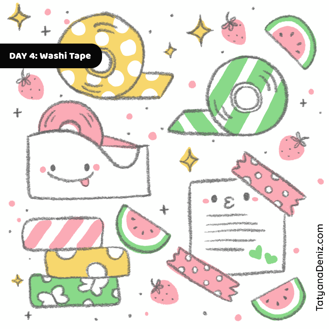 Kawaii Stationary Washi Tape doodle art by Tatyana Deniz