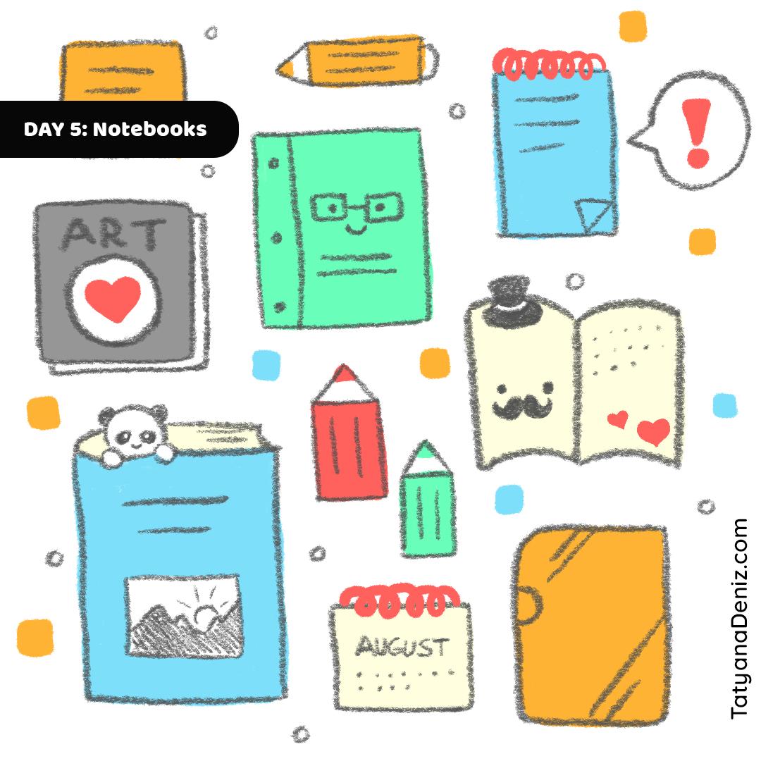Kawaii Stationary Notebook Planners doodle art by Tatyana Deniz