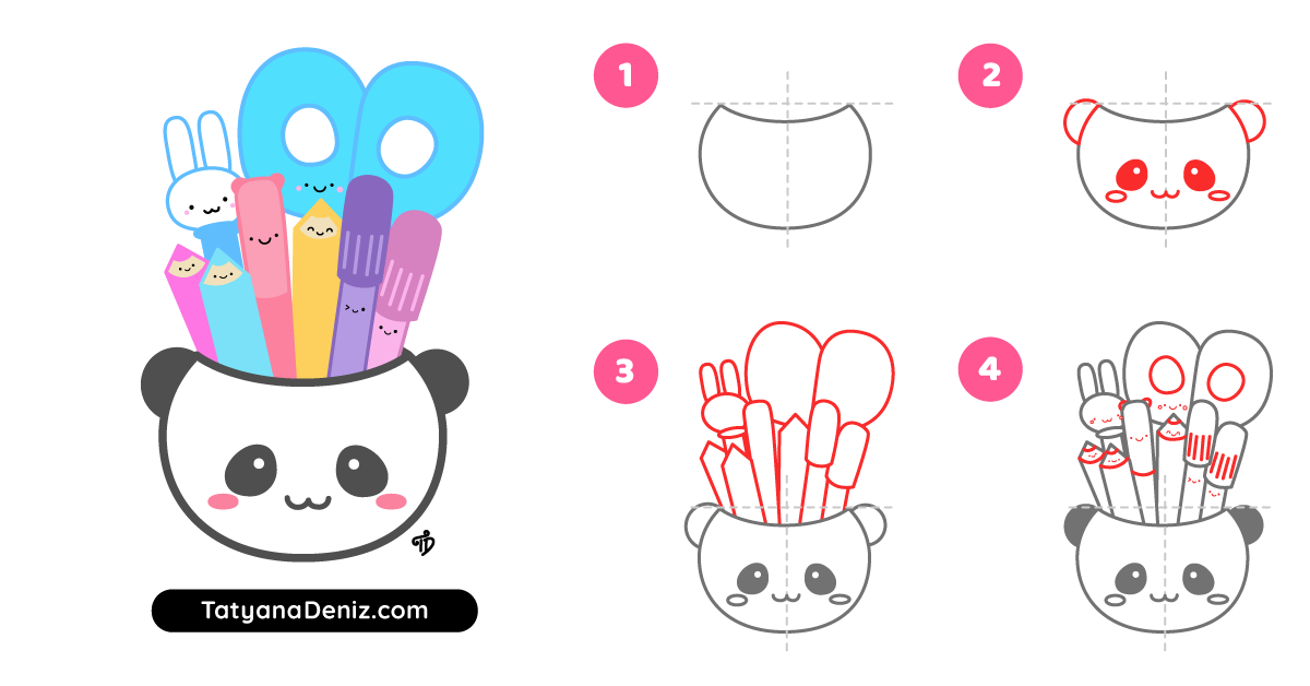 How to draw kawaii stationery pen cup step-by-step