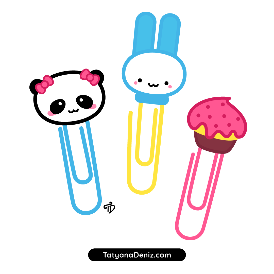 How to draw kawaii paper clips step-by-step with easy tutorial
