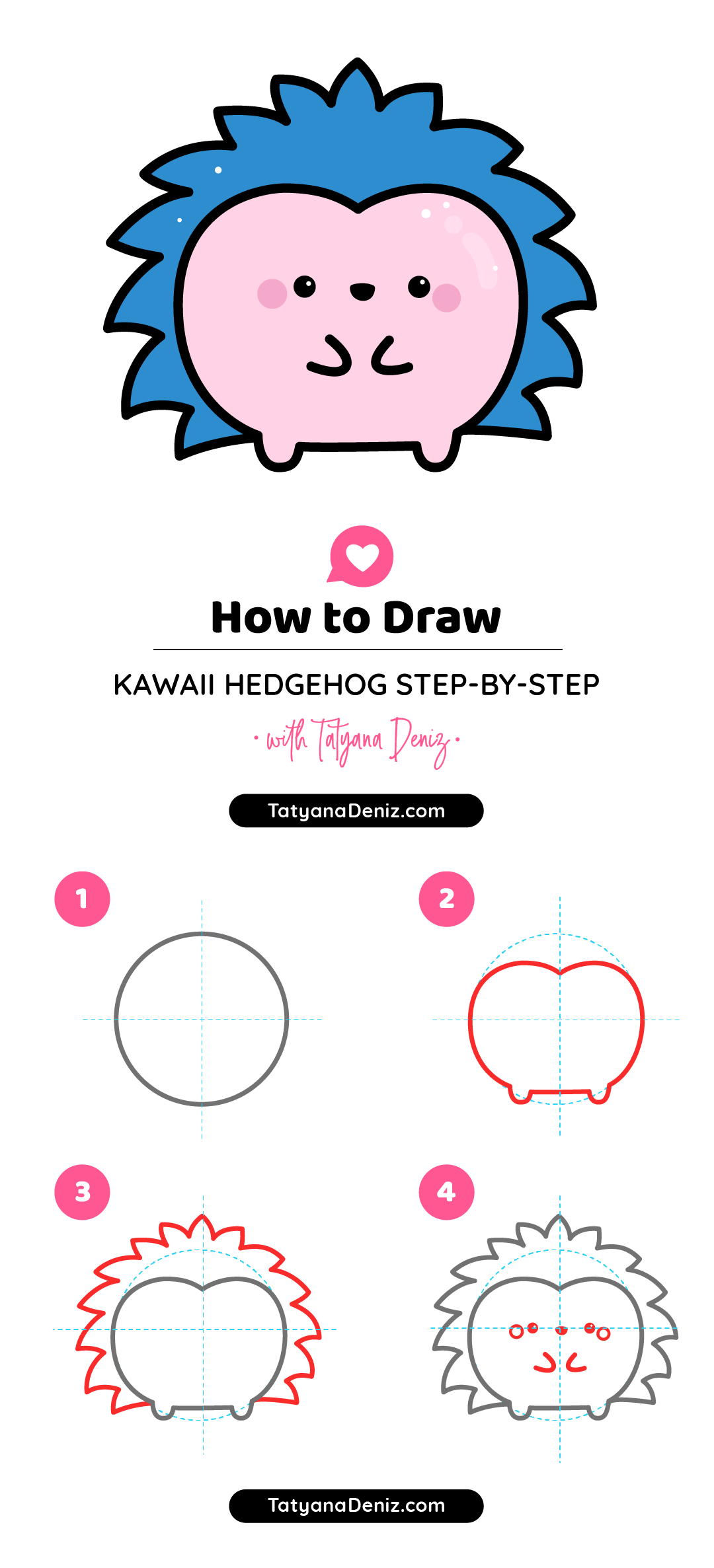 How to draw kawaii hedgehog with an easy step-by-step tutorial