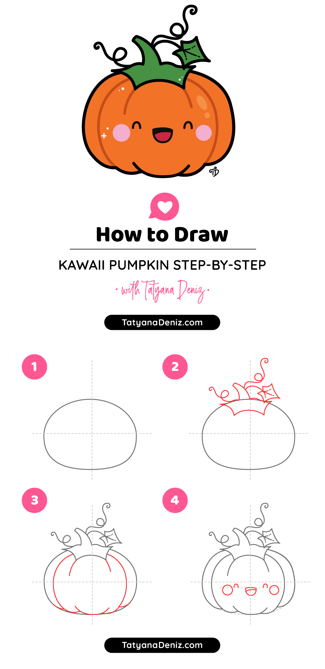 How to draw easy and cute Halloween pumpkin step-by-step