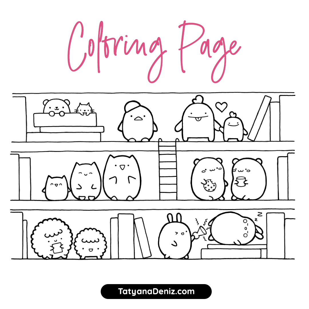 Free coloring page featuring kawaii animals in different poses and doing different funny things. Hours of fun!
