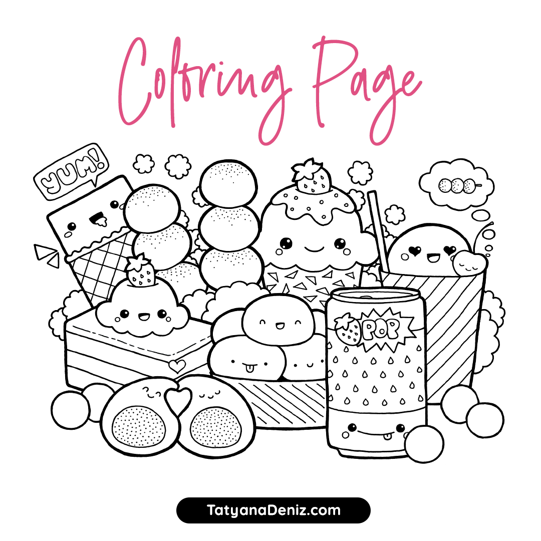 Free coloring page with kawaii food doodle. Enjoy these kawaii cupcakes, desserts, and sweets!