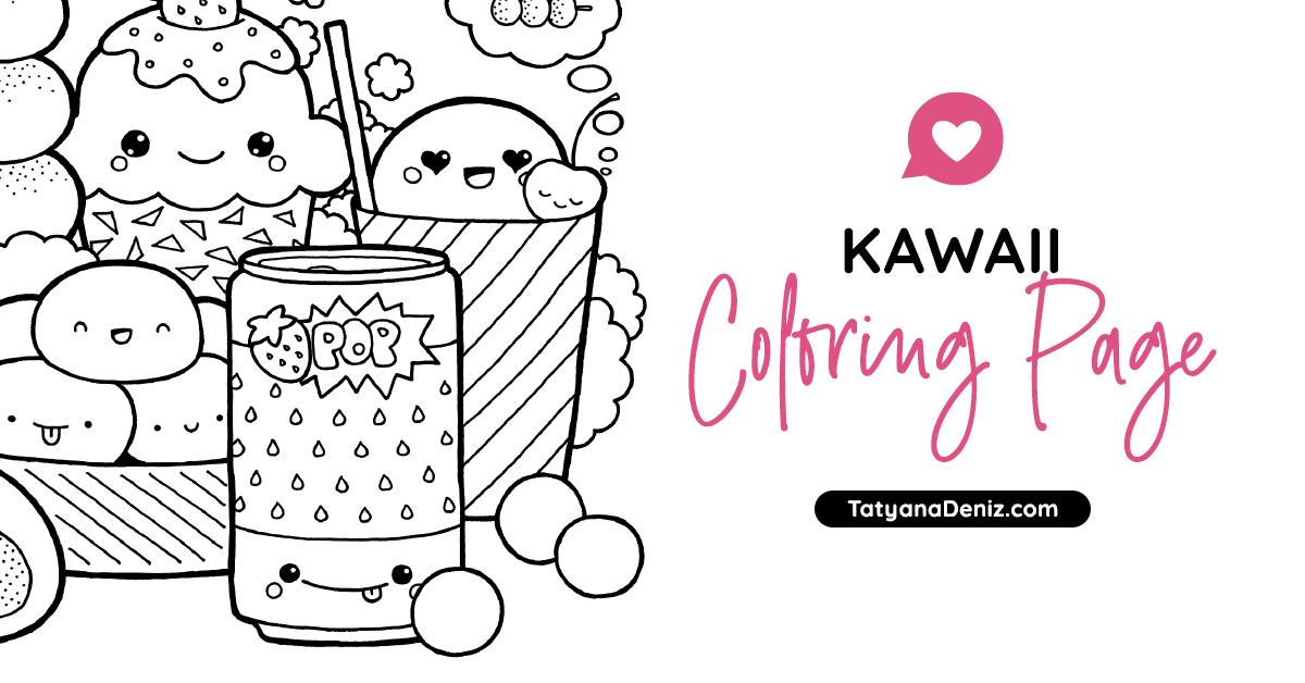 Free Coloring Page With Kawaii Food Doodle Printable Pdf