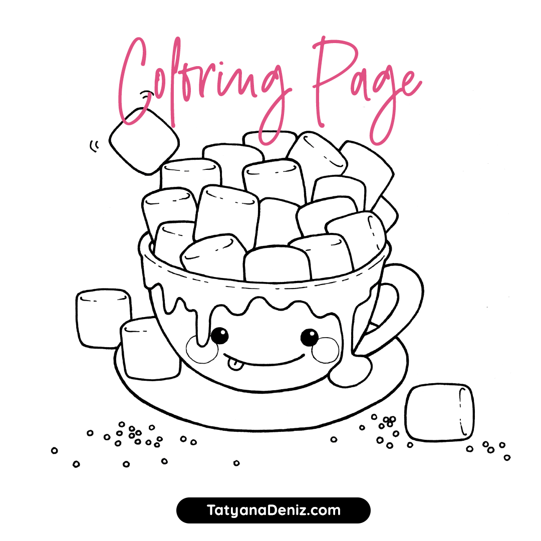 Download this free coloring page with a cup of hot chocolate for your Christmas crafts.